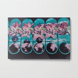 Flowers in Graffiti in Montreal Metal Print