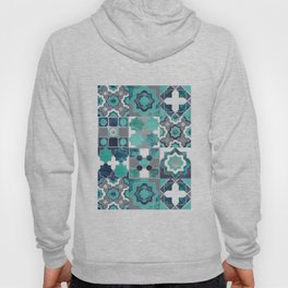 Spanish moroccan tiles inspiration // turquoise green silver lines Hoody
