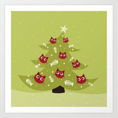 Cat Christmas Tree Art Print