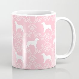 English Springer Spaniel dog breed pink floral pet portraits dog silhouette dog pattern Coffee Mug