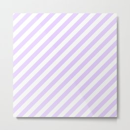 Chalky Pale Lilac Pastel and White Candy Cane Stripes Metal Print