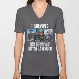 I survived - Second Age of Retha Kitten Lovemuch by AM Sohma Unisex V-Neck