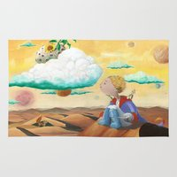 the little prince Area & Throw Rugs featuring Little Prince with sunflower by Fabio Marascio