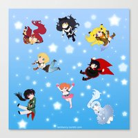rwby Canvas Prints featuring Chibi RWBY  by tofudelight