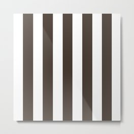 Taupe grey - solid color - white vertical lines pattern Metal Print