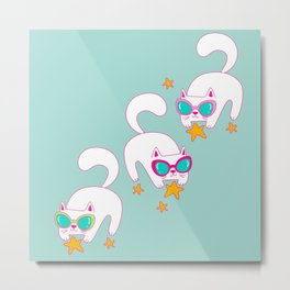 Cute Hand Drawn Cats with Sunglasses and Stars Metal Print