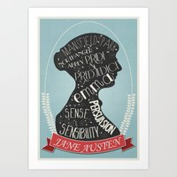 jane austen Art Prints featuring Jane Austen Silhouette Portrait by Bookish Prints
