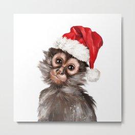Christmas Baby Monkey Metal Print