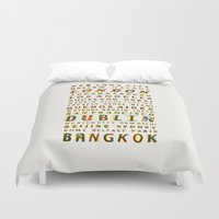 cities Duvet Covers featuring Travel World Cities by Fimbis