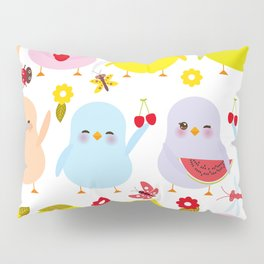 Kawaii colorful blue green orange pink yellow chick Pillow Sham