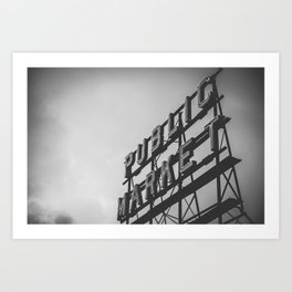 Seattle Pike Place Public Market Black and White Art Print