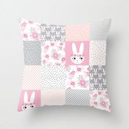 Bunny quilt baby decor newborn nursery charlotte winter pink grey decor for little girl Throw Pillow