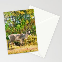 Lapland's reindeer watercolor painting  Stationery Cards
