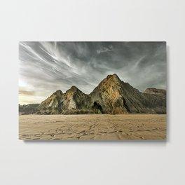 Jagged and dramatic Three Cliffs Bay Metal Print