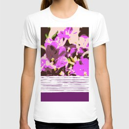 Lilac flowers and stripes, pattern mix T-shirt