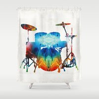 drums Shower Curtains featuring Drum Set Art - Color Fusion Drums - By Sharon Cummings by Sharon Cummings