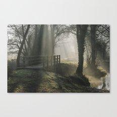 Sunlight through mist and fog over an old wooden footbridge. Norfolk, UK. Canvas Print