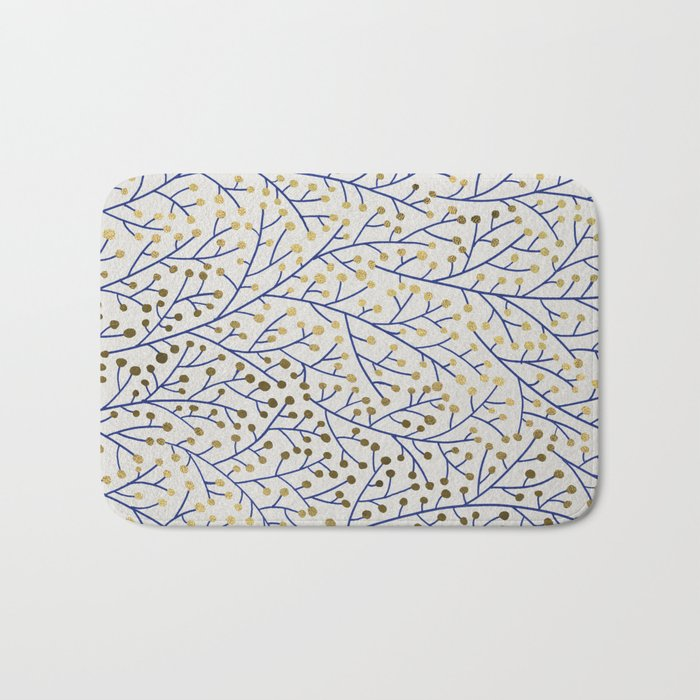 Berry Branches - Navy & Gold Bath Mat