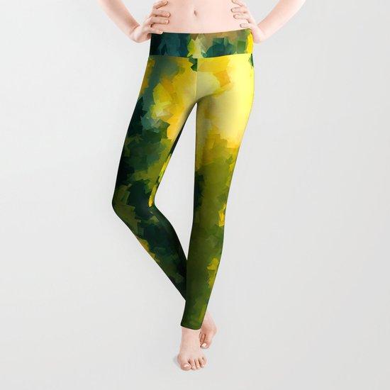 Squares Pattern #Yellow #Green #Mint #2 Leggings
