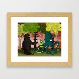 octopus vs sasquatch Framed Art Print
