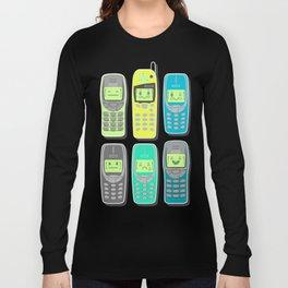 Vintage Cellphone Pattern Long Sleeve T-shirt