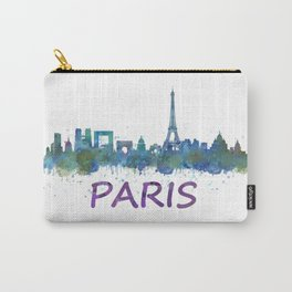 Paris France City Skyline in watercolor HQ Carry-All Pouch