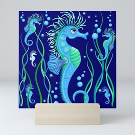 Seahorse cute blue sea animal Vector Seamless Pattern Textile Design Mini Art Print