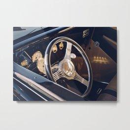 Classic Car Steering Wheel Metal Print