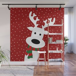 Reindeer in a snowy day (red) Wall Mural