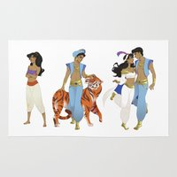aladdin Area & Throw Rugs featuring Genderbend Aladdin by TEAM JUSTICE ink.