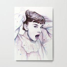 Audrey Hepburn Watercolor Actress Breakfast at Tiffanys Metal Print
