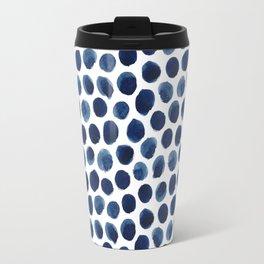 Large Indigo/Blue Watercolor Polka Dot Pattern Travel Mug