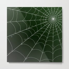 Spiderweb on Emerald Metal Print