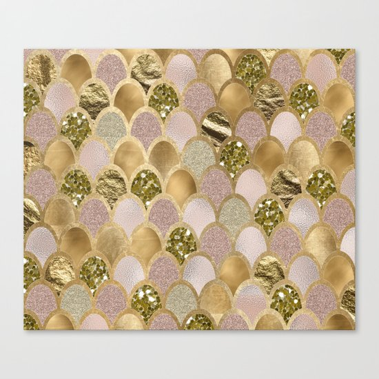 Rose gold glittering mermaid scales Canvas Print