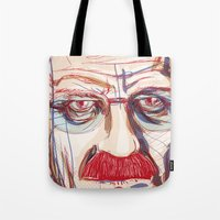 breaking Tote Bags featuring Breaking Walter // Breaking Bad by METAMARK Design Studio