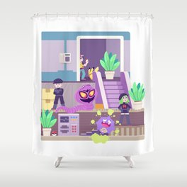 Tiny Worlds - Rocket HQ Shower Curtain