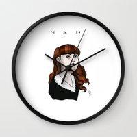 nan lawson Wall Clocks featuring Nan by Dan Paul Roberts