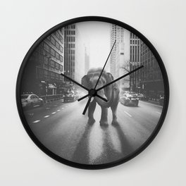 Elephant in the city Wall Clock