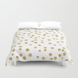 Gold glitter confetti on white - Metal gold dots Duvet Cover