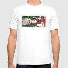 Botan Rice Candy Meow Mens Fitted Tee MEDIUM White