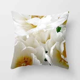 White tulips with afterglow centers Throw Pillow
