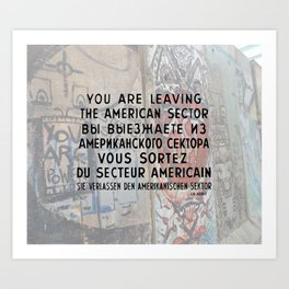 Checkpoint Charlie Signage, Berlin Wall Art Print