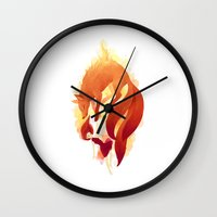 freeminds Wall Clocks featuring Fire Fox by Freeminds