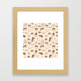 Chocolate Pastry Pattern Framed Art Print