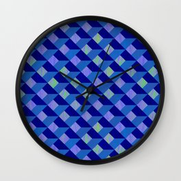 Geometric Marquetry With Variegated Marbled Colors Wall Clock