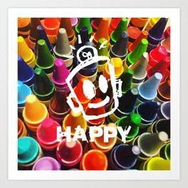 Crayon HAPPY Art Print