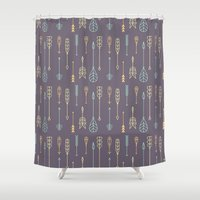 arrows Shower Curtains featuring Arrows by Ceren Aksu Dikenci
