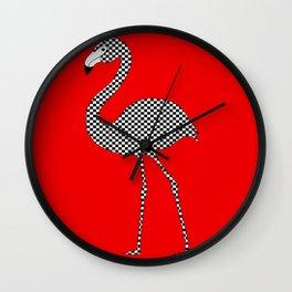 Checkerboard Flamingo Wall Clock