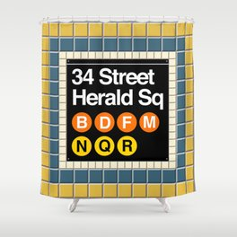 subway herald square sign Shower Curtain