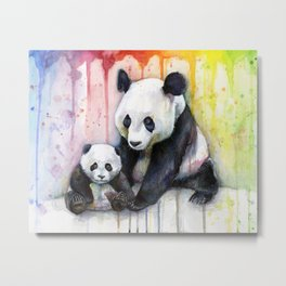 Pandas and Rainbow Watercolor Mom and Baby Panda Nursery Animals Metal Print